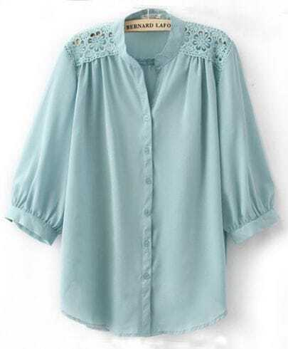Light Blue Crochet Flower Shoulder Puff Sleeve Blouse