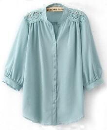 Light Blue Crochet Flower Shoulder Puff Sleeve Blouse