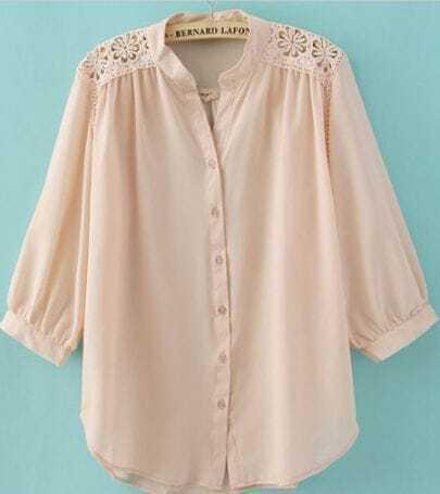Pink Crochet Flower Shoulder Puff Sleeve Blouse