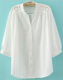 White Crochet Flower Shoulder Puff Sleeve Blouse