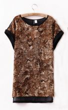 Brown Leopard Contrast Chiffon Back Rolled Sleeve Blouse