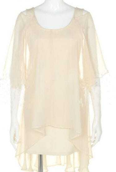 Beige Chiffon Sheer Flare Sleeve Dipped Hem Blouse