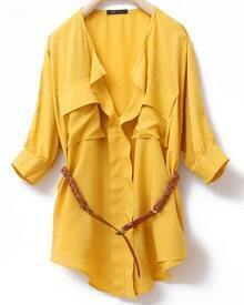 Yellow V Neck And Concealed Placket Half Sleeve Belted Blouse