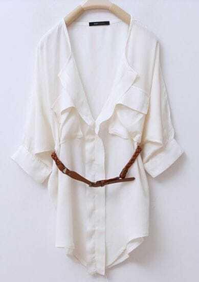 White V Neck And Concealed Placket Half Sleeve Belted Blouse
