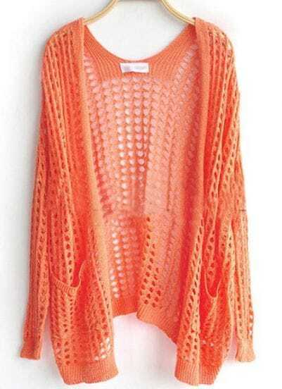 Orange Pockets Front Open Mesh Stitch Sweater Cardigan