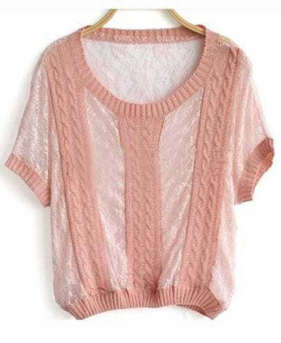 Pink Cable Lace Batwing Short Sleeve Sheer Sweater