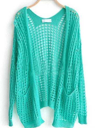 Light Green Pockets Front Open Mesh Stitch Sweater Cardigan