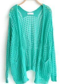 Light Green Pockets Front Open Mesh Stitch Sweater Cardigan