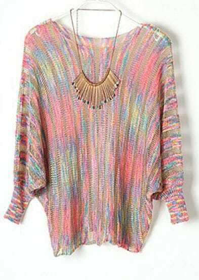 Pink Batwing Sleeve Jumper In Bright Fleck Yarn