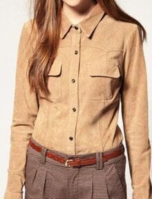 Camel Long Sleeve Pockets Front Suede Blouse