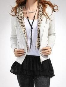 White Hooded Long Sleeve Leopard Zipper Two Pieces Outerwear