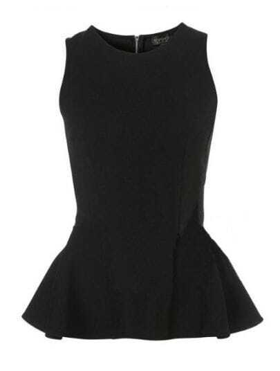 Black Round Neck Sleeveless Zipper Peplum Top