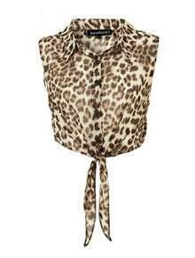 Leopard Lapel Sleeveless Single Breasted Chiffon Shirt
