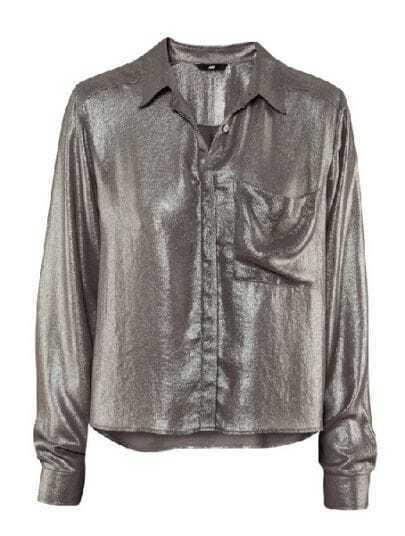 Grey Street Lapel Long Puff Sleeve Flare Loose Shirt