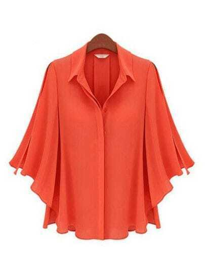 Red Lapel Half Batwing Sleeve Single Breasted Loose Shirt