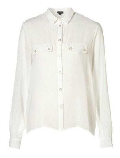 White Street Lapel Long Sleeve Single Breasted Shirt