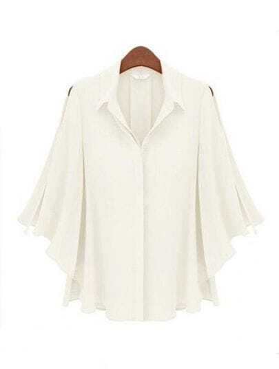 White Lapel Half Batwing Sleeve Single Breasted Loose Shirt