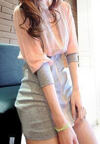 Pink High Neck Long Sleeve Zipper Chiffon Dress