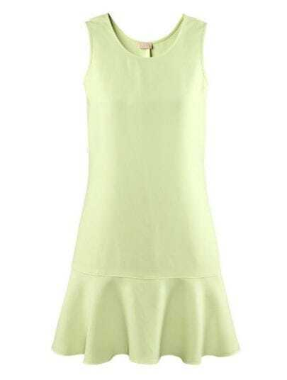 Green Round Neck Sleeveless Ruffles Cotton Blends Dress