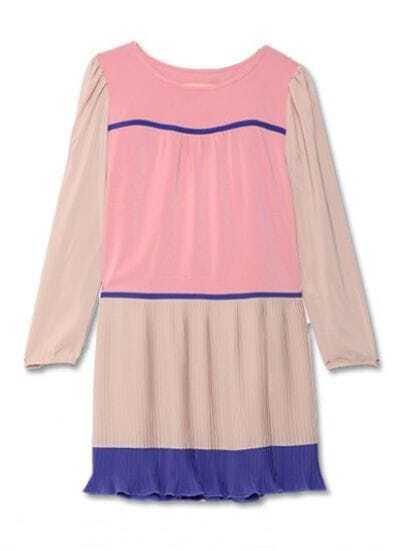 Pink Nude Round Neck Long Sleeve Pleated Chiffon Dress
