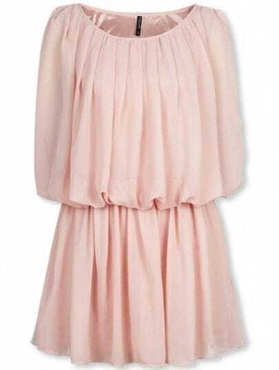 Pink Round Neck Sleeveless Pleated Chiffon Dress