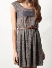 Grey Round Neck Sleeveless Lace Floral Cotton Dress