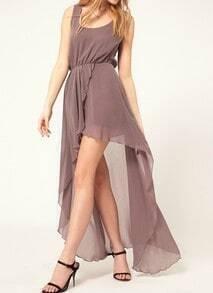 Light Purple Scoop Neck Sleeveless Asymmetrical Mid Waist Chiffon Dress