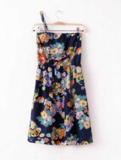 Navy Vintage Spaghetti Strap Floral Chiffon Dress