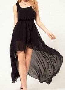 Black Scoop Neck Sleeveless Asymmetrical Mid Waist Chiffon Dress