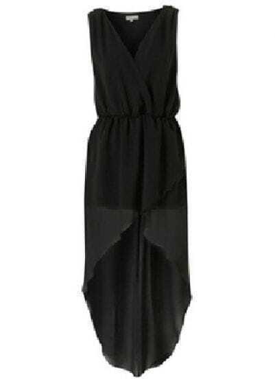 Black V Neck Sleeveless High Waist Asymmetrical Chiffon Dress