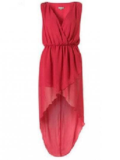 Rose Red V Neck Sleeveless High Waist Asymmetrical Chiffon Dress