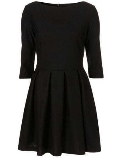 Black Round Neck Three Quarter Length Sleeve High Waist Dress
