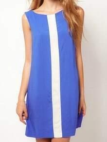 Blue White Round Neck Sleeveless Chiffon Dress