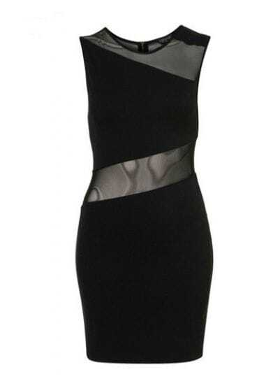 Black Round Neck Sleeveless Zipper Mesh Yoke Polyester Dress
