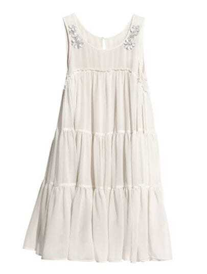 White Round Neck Sleeveless Rhinestone Pleated Dress