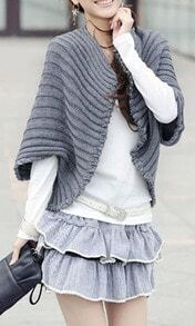Grey Short Sleeve Curved Hem Knitted Cape