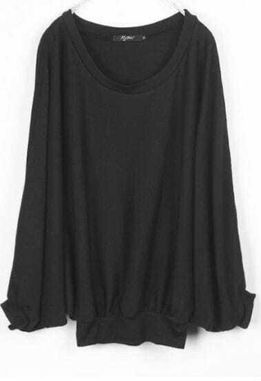 Black Cotton Round Neck Dolman Sleeve Sweater