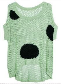 Green Dipped Hem Short Sleeve Open Stitch Sweater