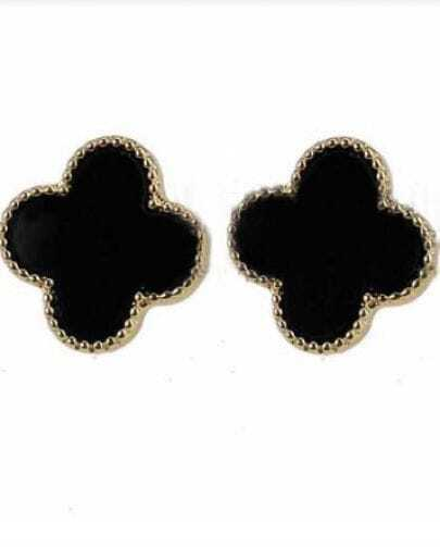 Black Floral Style Beading Stud Earring