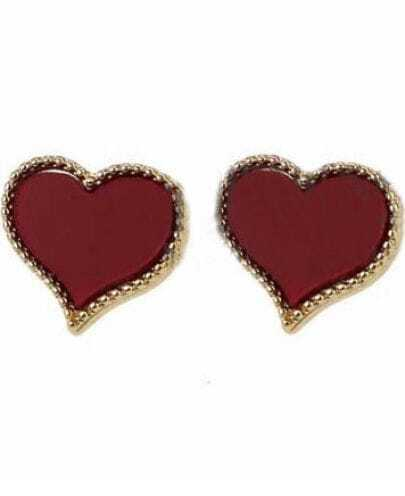 Red Heart Style Beading Stud Earring