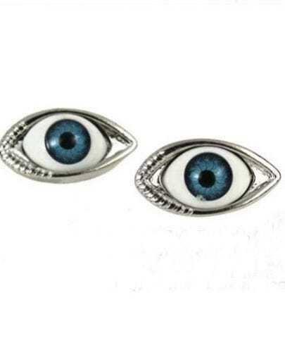 Silver Look Evil Eye Stud Earring