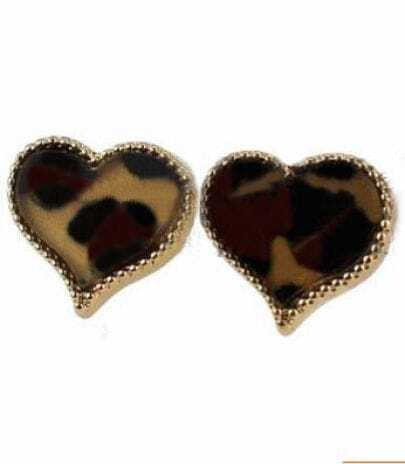 Brown Leopard Heart Style Stud Earring