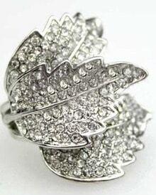 Silver Three Leaves Rhinestone Embellished Ring