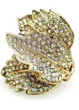 Golde Three Leaves Rhinestone Embellished Ring