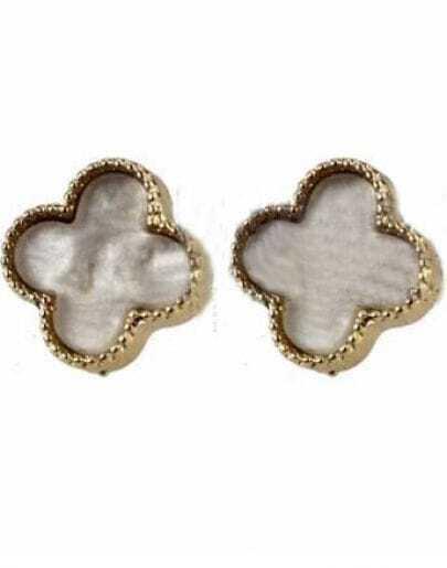 White Four Cover Leaf Beading Stud Earring