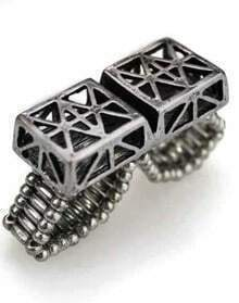 Silver Two Finger Cube Hollow Out Ring