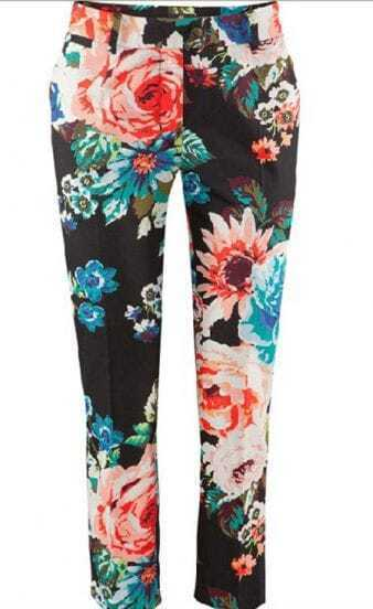 Black Floral Print Carrot Cotton Crop Pant