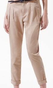Khaki Pleated Pockets Side and Back Tapered Pant