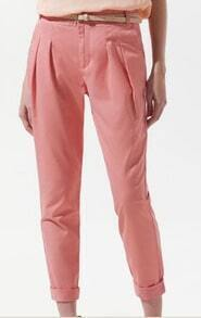 Red Pleated Pockets Side and Back Tapered Pant