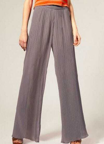 Grey Pleated Chiffon Flared Chiffon Pants
